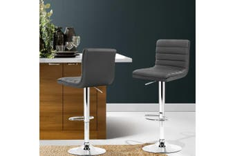 Artiss 2 x Leather Bar Stools Swivel Bar Stool Kitchen Chairs Gas Lift Grey