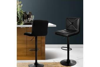 Artiss 2x Bar Stools Leather Chrome Kitchen Cafe Bar Stool Chair Gas Lift Black