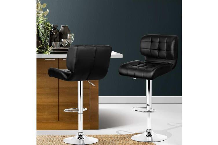 Artiss 2x Bar Stools PU Leather Chrome Kitchen Bar Stool Chairs Gas Lift Black
