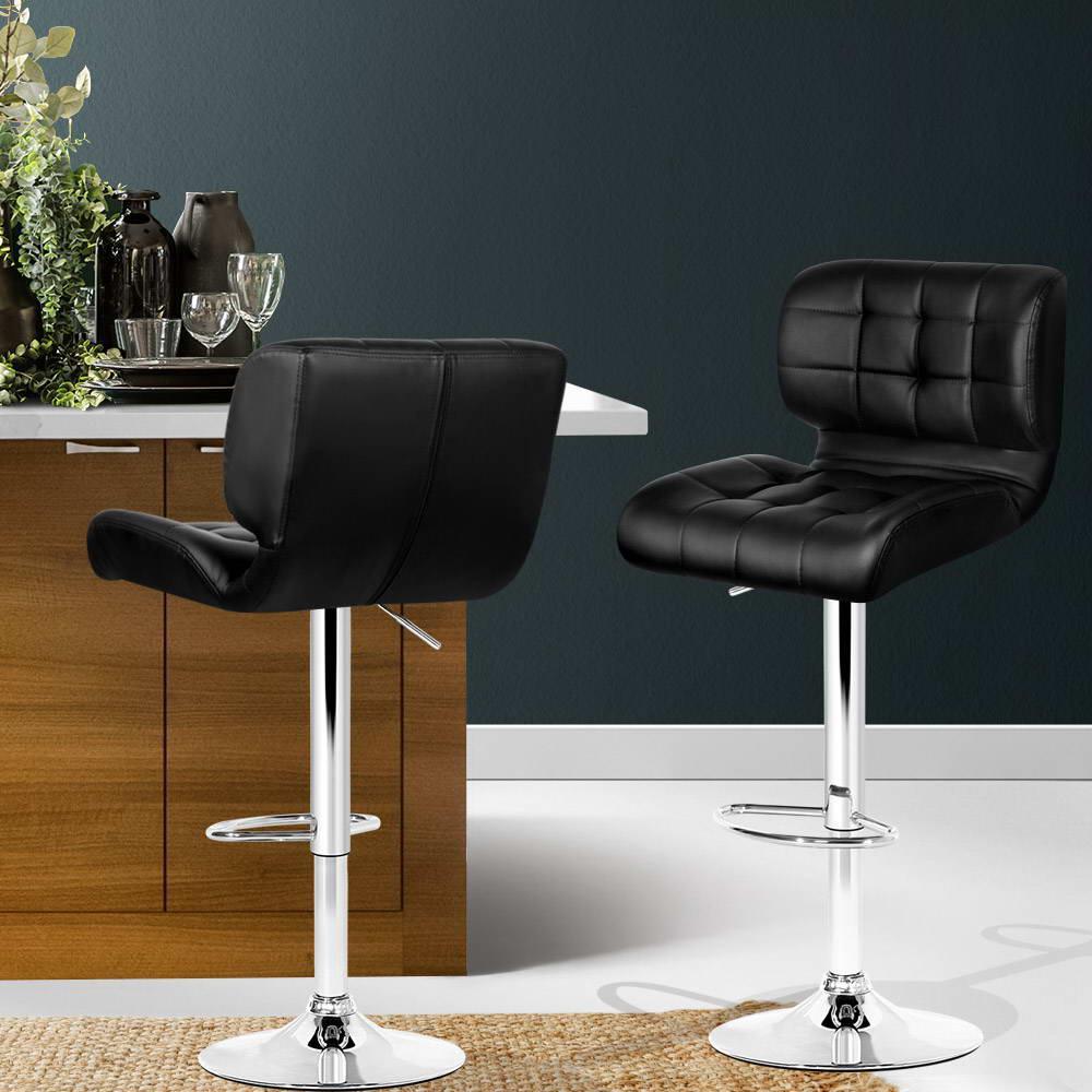Picture of: Artiss 2x Bar Stools Pu Leather Chrome Kitchen Bar Stool Chairs Gas Lift Black Matt Blatt