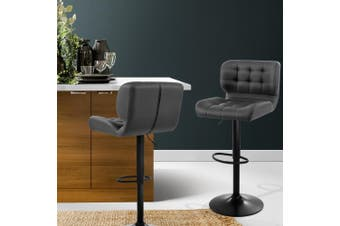 Artiss 2x Kitchen Bar Stools Gas Lift Bar Stool Chairs Swivel Leather Black Grey