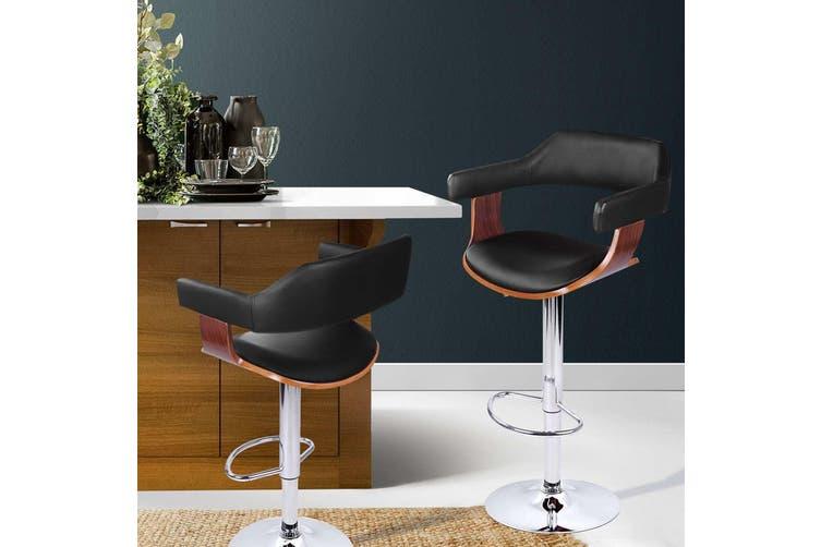 Artiss Wooden Bar Stools Selina Kitchen Swivel Bar Stool Chairs Leather Black Matt Blatt