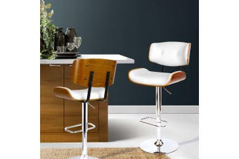 Artiss Wooden Bar Stools Bar Stool Kitchen Chair Dining White Pad Gas Lift 8045