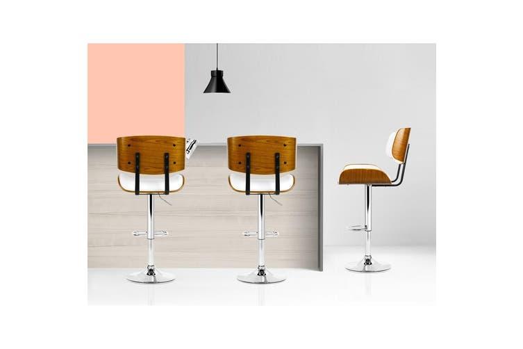 Artiss Wooden Bar Stools Bar Stool Kitchen Chair Dining White Pad Gas Lift 8045