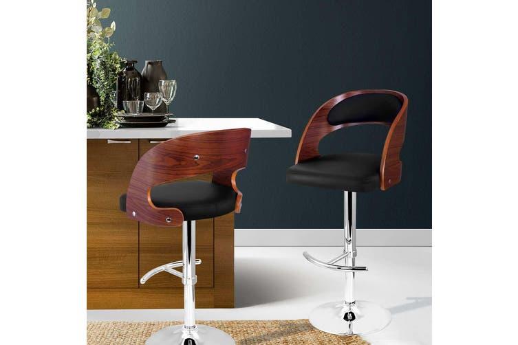 Artiss Wooden Bar Stools Bar Stool Kitchen Dining Chairs Gas Lift Bella Black