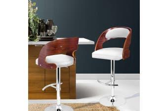 Artiss Wooden Bar Stools Bar Stool Kitchen Dining Chairs Gas Lift Bella White