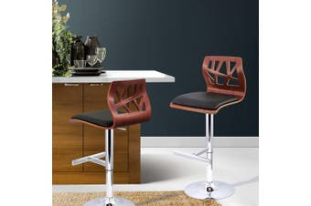 Artiss 2 X Wooden Bar Stools Bar Stool Kitchen Chair Dining Black Pad Gas Lift