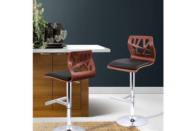 Artiss 2 X Wooden Bar Stools Bar Stool Kitchen Chair Dining Black Pad Gas Lift