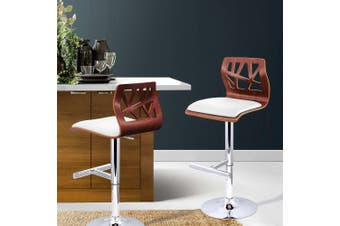 Artiss 2 X Wooden Bar Stools Bar Stool Kitchen Chair Dining Pad Gas Lift White