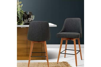 Artiss 2x Wooden Bar Stools Swivel Bar Stool Kitchen Dining Chairs Cafe Charcoal