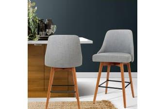 Artiss 2x Wooden Bar Stools Swivel Bar Stool Kitchen Dining Chairs Cafe Grey