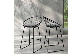 Artiss 2x Nordic Bar Stools Metallic Bar Stool Kitchen Chairs Fabric Grey Black