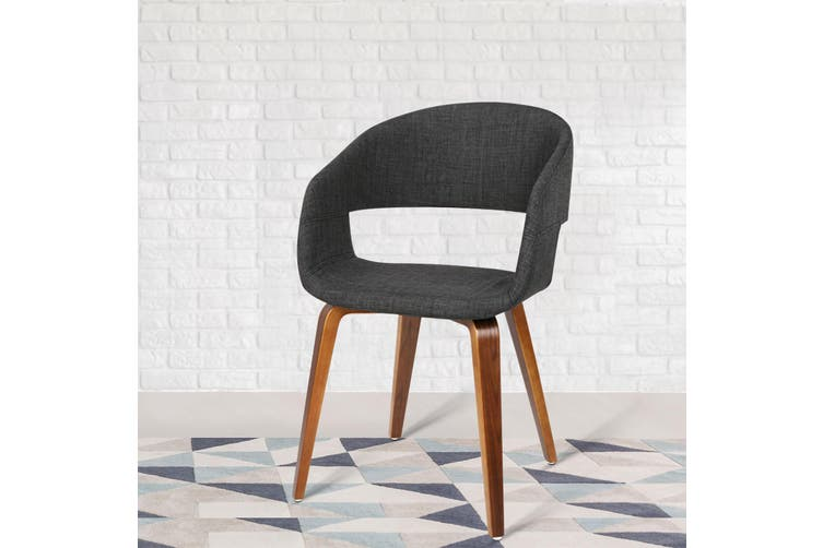 Artiss 2x EVAN Dining Chairs Bentwood Chair Timber Kitchen Cafe Fabric Charcoal
