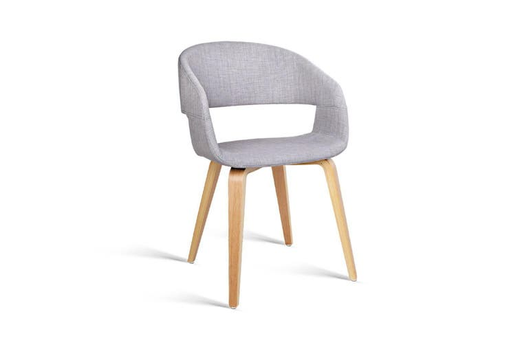 Artiss 2x EVA Dining Chairs Bentwood Wooden Chair Kitchen Cafe Fabric Light Grey