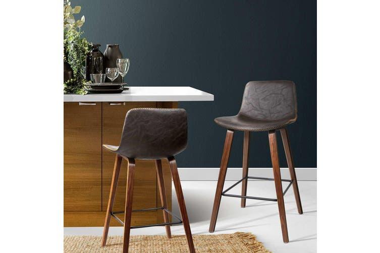 Artiss 2x Wooden Bar Stools Kitchen Bar Stool Dining Chair Cafe Wood Walnut 8701