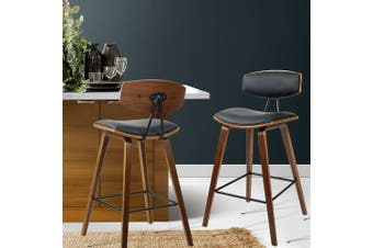 Artiss 2x Wooden Bar Stools Kitchen Bar Stool Dining Chair Cafe Wood Black 8782