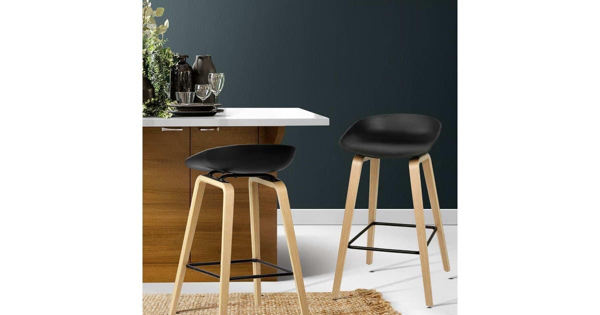 Dick Smith Artiss 2 X Wooden Bar Stools Kitchen Bar Stool Chairs Barstool Black Stools