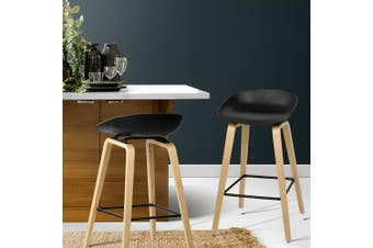 Artiss 2 x Wooden Bar Stools Kitchen Bar Stool Chairs Barstool Black