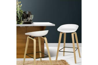 Artiss 2x Wooden Bar Stools Bar Stool Kitchen Dining Chair Metal Footrest White