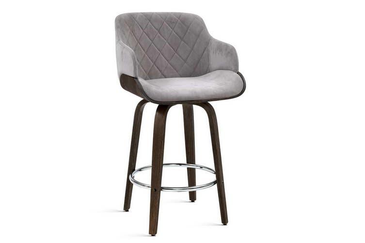Artiss 1x Kitchen Bar Stools Wooden Bar Stool Chairs Swivel Velvet Fabric Grey