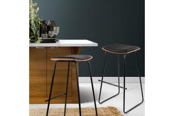 Artiss 2x Wooden Bar Stools Kitchen Bar Stool Counter Chairs Leather Black