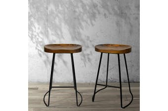 Artiss Vintage Tractor Bar Stools Retro Bar Stool Industrial Chairs Black 65cmX2