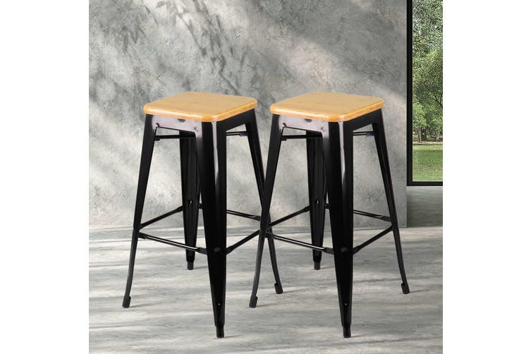 Artiss 2x Tolix Replica Bar Stools Metal Bar Stool Chairs Bamboo Seat 66cm BLACK