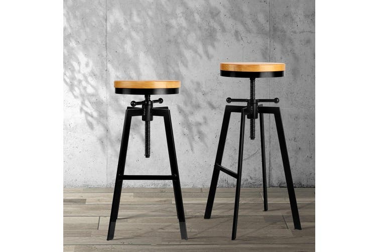 Artiss Vintage Bar Stools Industrial Kitchen Stool Swivel Chairs