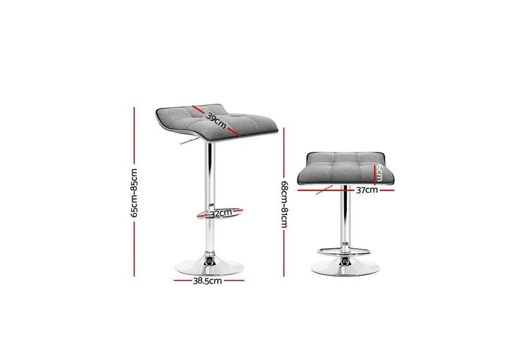 Artiss 2x Fabric Bar Stools Swivel Bar Stool Dining Chairs Gas Lift Kitchen Grey