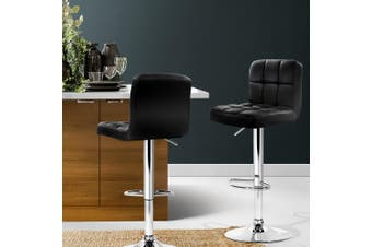 Artiss 2x Leather Bar Stools NOEL Kitchen Chairs Swivel Bar Stool Gas Lift Black