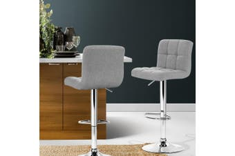 Artiss 2x Fabric Bar Stools NOEL Kitchen Chairs Swivel Bar Stool Gas Lift Grey