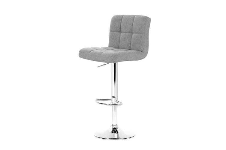 Artiss 2x Fabric Bar Stools NOEL Kitchen Chairs Swivel Bar Stool Gas Lift Grey