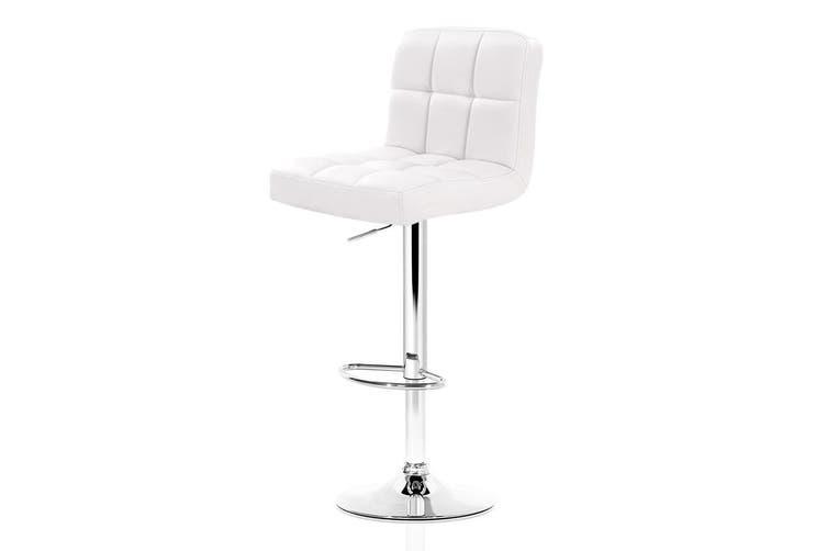 Artiss 2x Leather Bar Stools NOEL Kitchen Chairs Swivel Bar Stool Gas Lift White