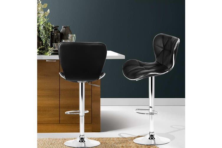 Artiss 2x Bar Stools RUBY Kitchen Swivel Bar Stool Leather Chairs Gas Lift Black