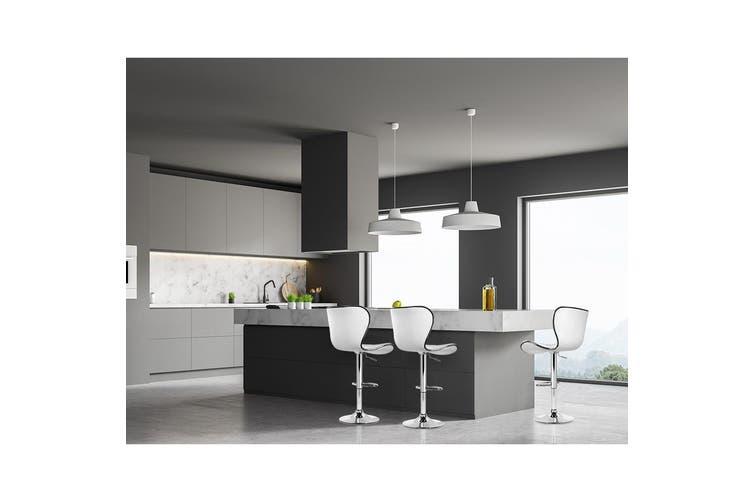 Artiss 2x Bar Stools RUBY Kitchen Swivel Bar Stool Leather Chairs Gas Lift White