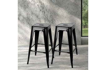 Artiss 2x Replica Tolix Bar Stools Metal Bar Stool Kitchen Chairs 76cm Black