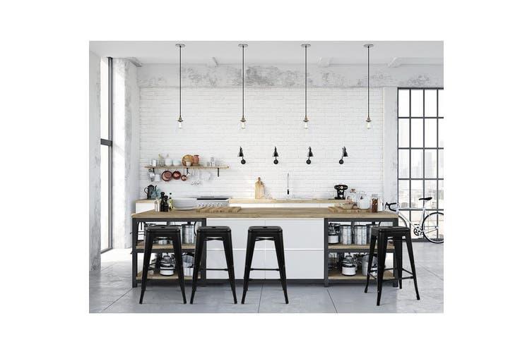 Artiss 2x Replica Tolix Bar Stools Metal Bar Stool Kitchen Chairs 76cm Black