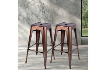 Artiss 2x Replica Xavier Tolix Bar Stools Steel Kitchen Cafe Chairs 76cm Bronze