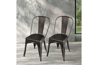 Artiss 4 x Replica Tolix Dining Chairs Metal Steel Bar Stools Cafe GUNMETAL