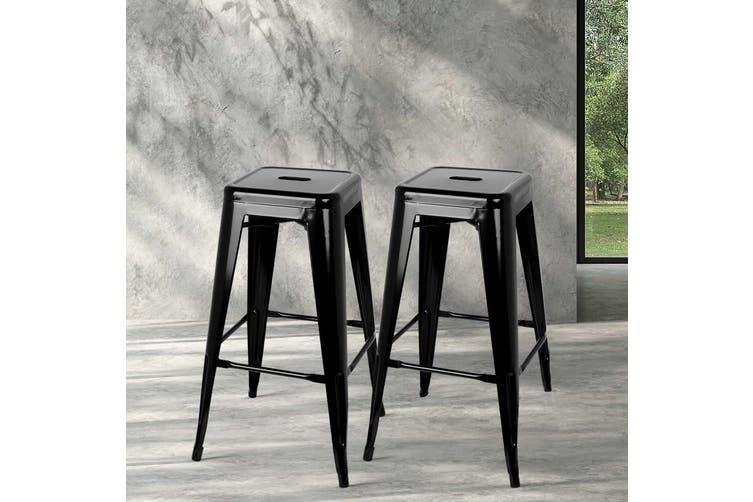 Artiss 4x Replica Tolix Bar Stools Metal Bar Stool Kitchen Cafe Chair 61cm Black