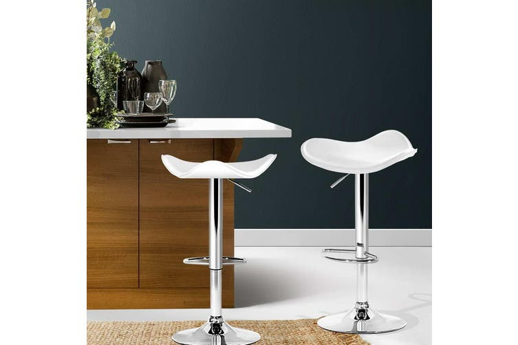 Artiss 2x Kitchen Bar Stools Swivel Bar Stool Leather Gas Lift Chair White