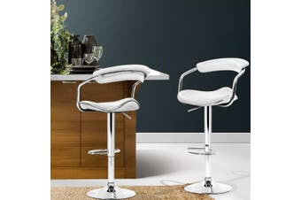 Artiss 2x Leather Bar Stools ADE Kitchen Chairs Swivel Bar Stool White Gas Lift
