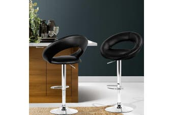Artiss 2x Bar Stools RIO Kitchen Swivel Bar Stool Leather Chairs Gas Lift Black