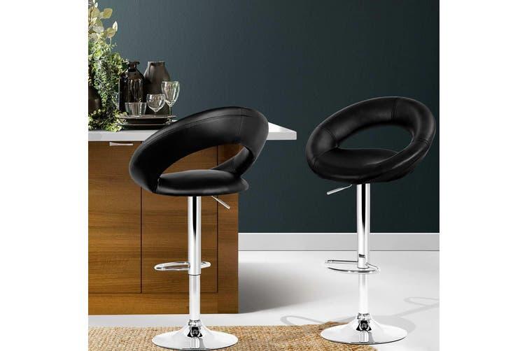 Artiss 2x Bar Stools RIO Kitchen Swivel Bar Stool Leather Chairs Gas Lift Black