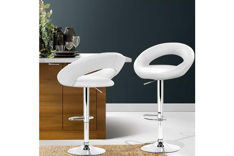 Artiss 2x Bar Stools RIO Kitchen Swivel Bar Stool Leather Chairs Gas Lift White