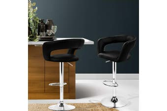 Artiss 2x Bar Stools ZOE Kitchen Swivel Bar Stool Leather Chairs Gas Lift Black