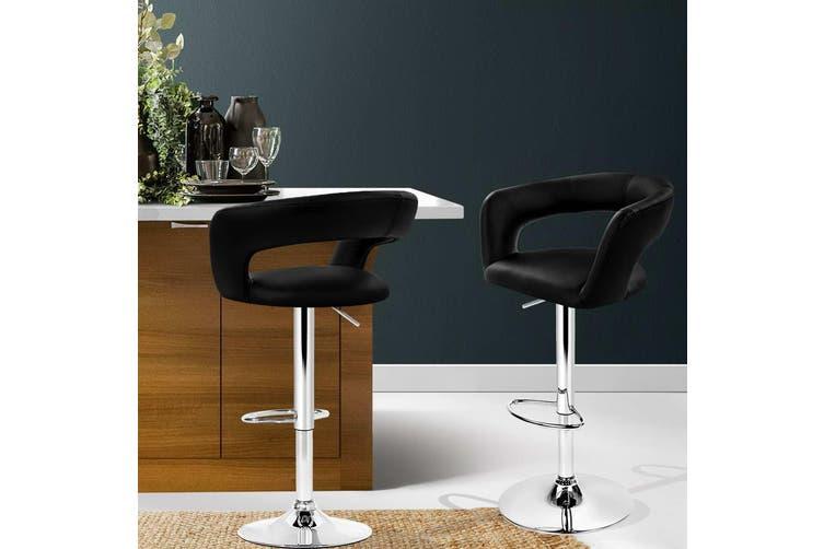 Artiss 2x Bar Stools ZOE Kitchen Swivel Bar Stool Leather Chairs Gas Lift Black
