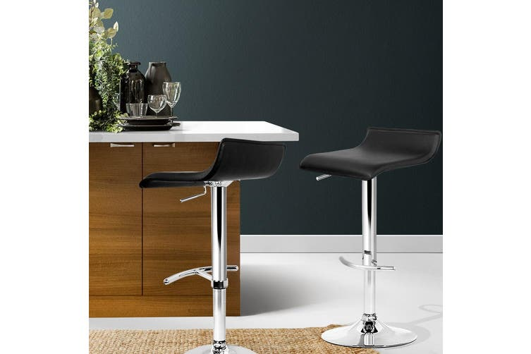 Artiss 2x Bar Stools SENA Kitchen Swivel Bar Stool Leather Chairs Gas Lift Black