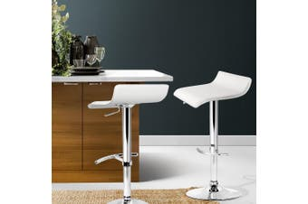 Artiss 2x Bar Stools SENA Kitchen Swivel Bar Stool Leather Chairs Gas Lift White