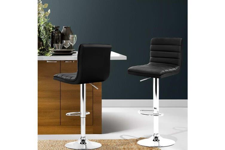 Artiss 2x Leather Bar Stools ARNE Swivel Bar Stool Kitchen Chairs Black Gas Lift